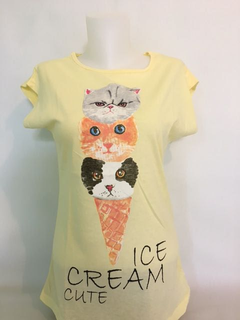 Tee shirt chat ice cream cute