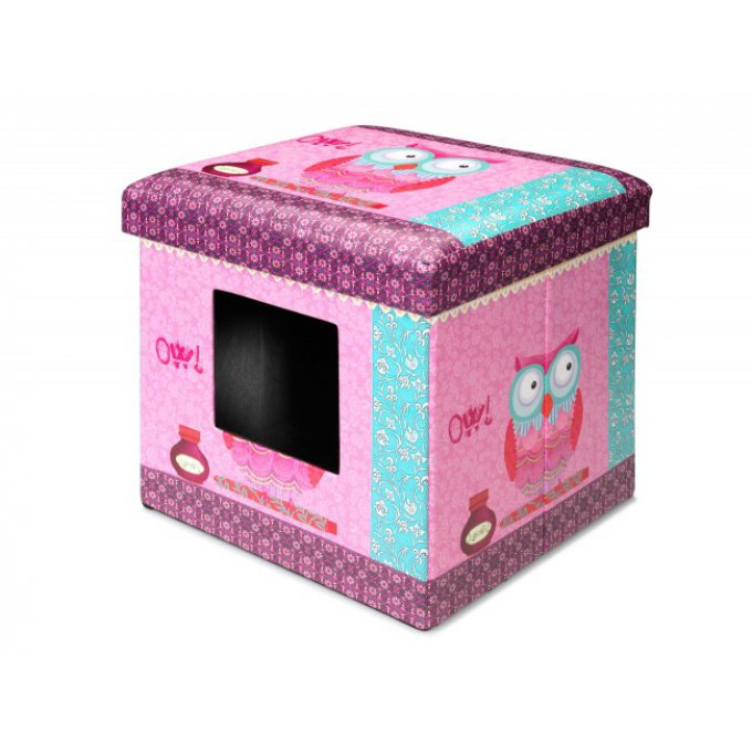 maison chat motif hibou rose