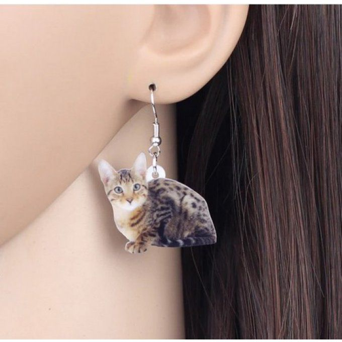 Boucles d'oreille chat bengal