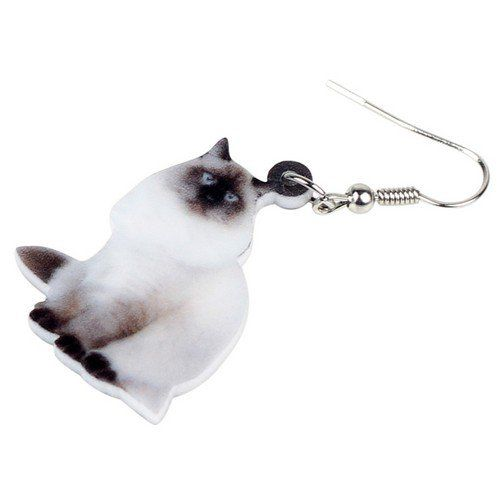 Boucles d'oreille chat sacré de birmanie