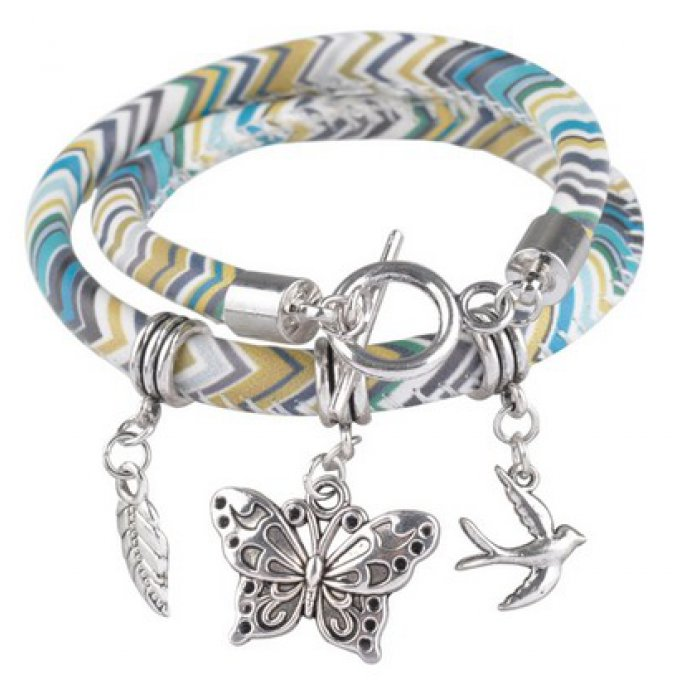 bracelet cuir artificiel papillon