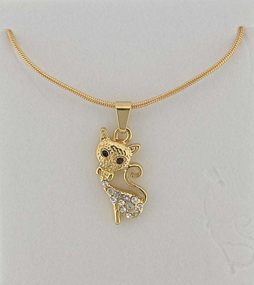 collier petit chat assis strass et doré