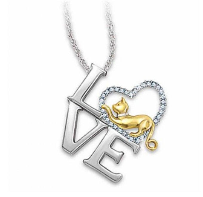 Collier love coeur de chat