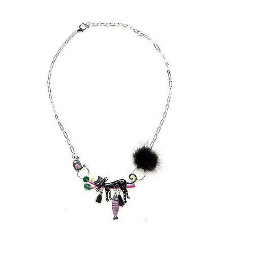 Collier chat noir endormi et pompon
