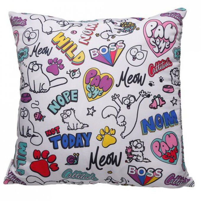Coussin blanc chat simon's cat