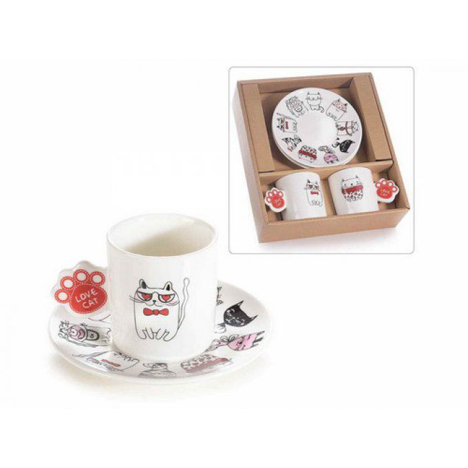 Duo de tasses chat en porcelaine
