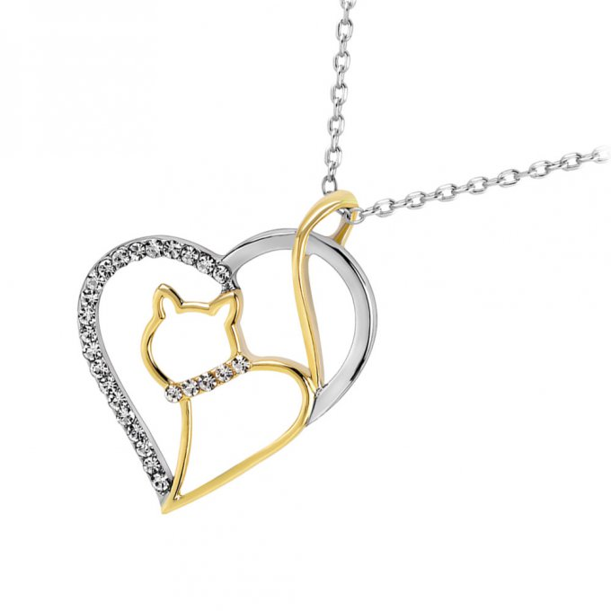 Collier chat coeur et strass