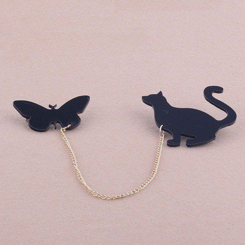 Broche chat et papillon