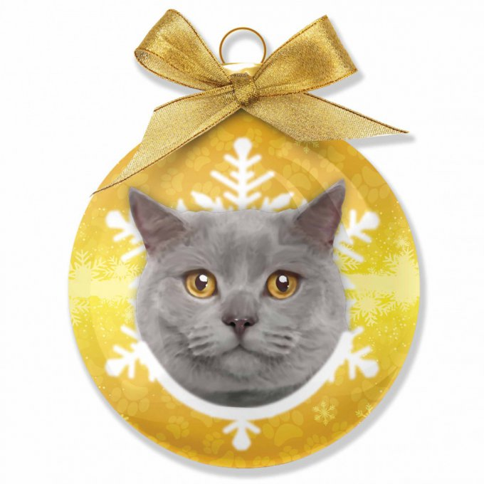 boule de noël chat british-shorthair