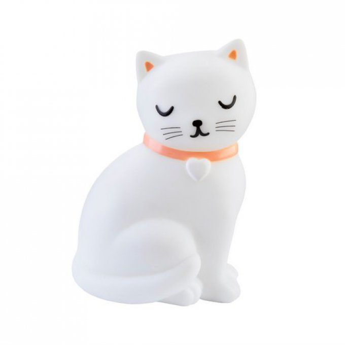 Lampe veilleuse chat blanc assis