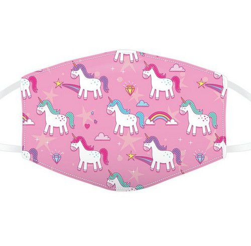 Masque de protection enfant rose motif licorne