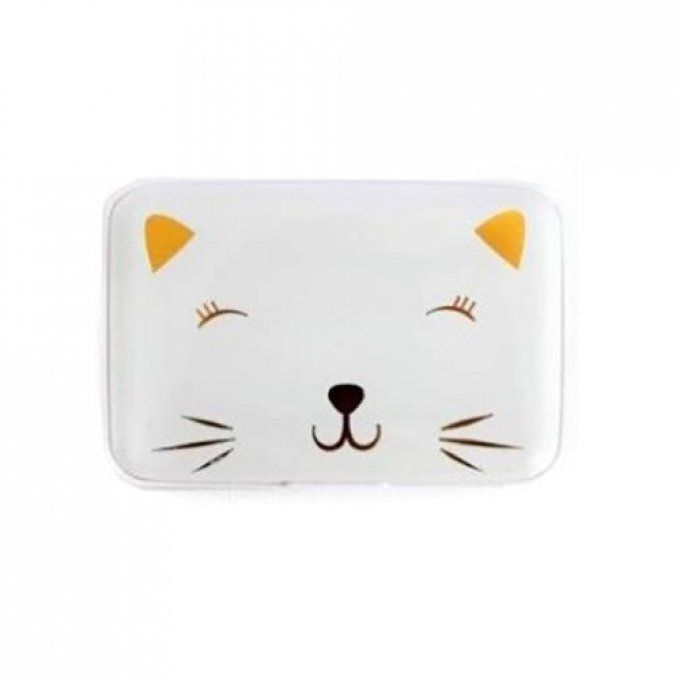 Porte carte chat blanc et or