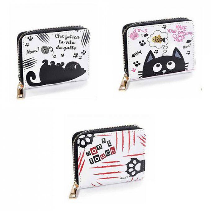 Porte-monnaie chat best friends noir et blanc
