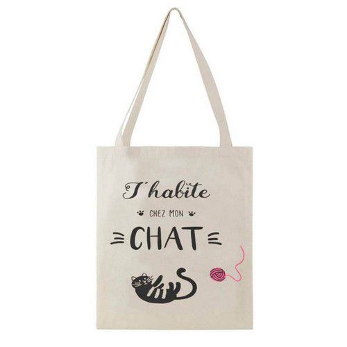 Sac coton naturel chat et message