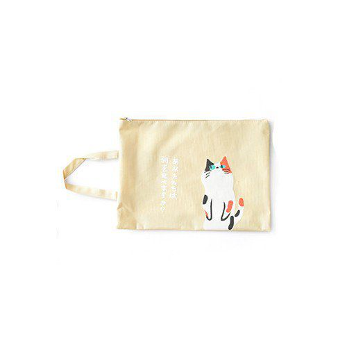 Sac porte document chat en toile