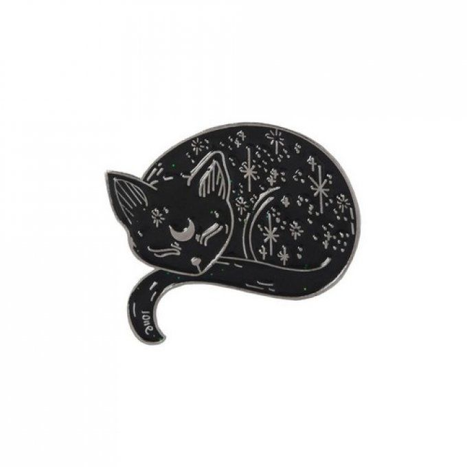 Broche pins chat noir endormi