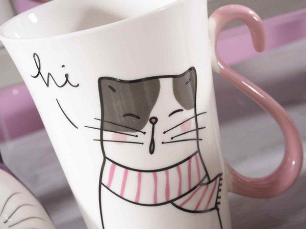 Mug  en porcelaine chat dessin queue rose